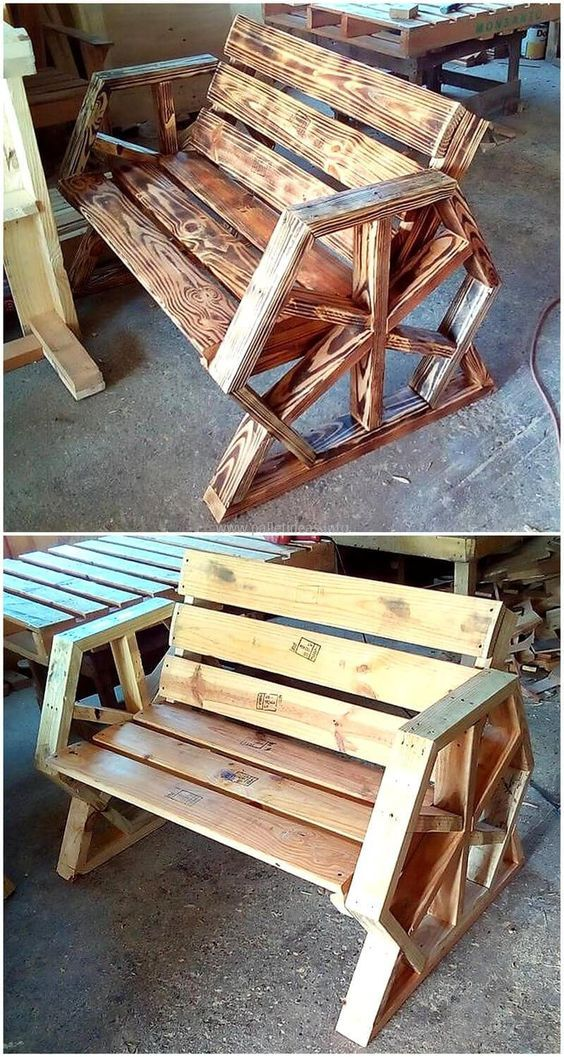 Reused Pallet Bench Idea Pallet Furniture Outdoor Wood Pallet Projects Woodworking Bench