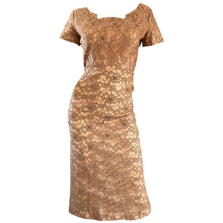 51007ed725d9 Gorgeous 1950s Demi Couture Tan Beige Nude Silk Lace Sequins 50s Vintage  Dress | From a