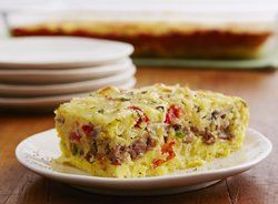 Cheesy Sausage and Egg Bake- I use gluten free bisquick