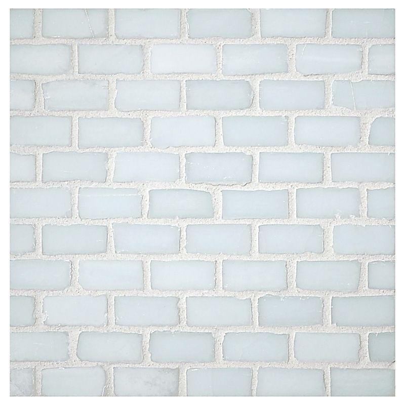 Luna Gl Tile 1 2 X Mini Brick Mosaic Ice Natural
