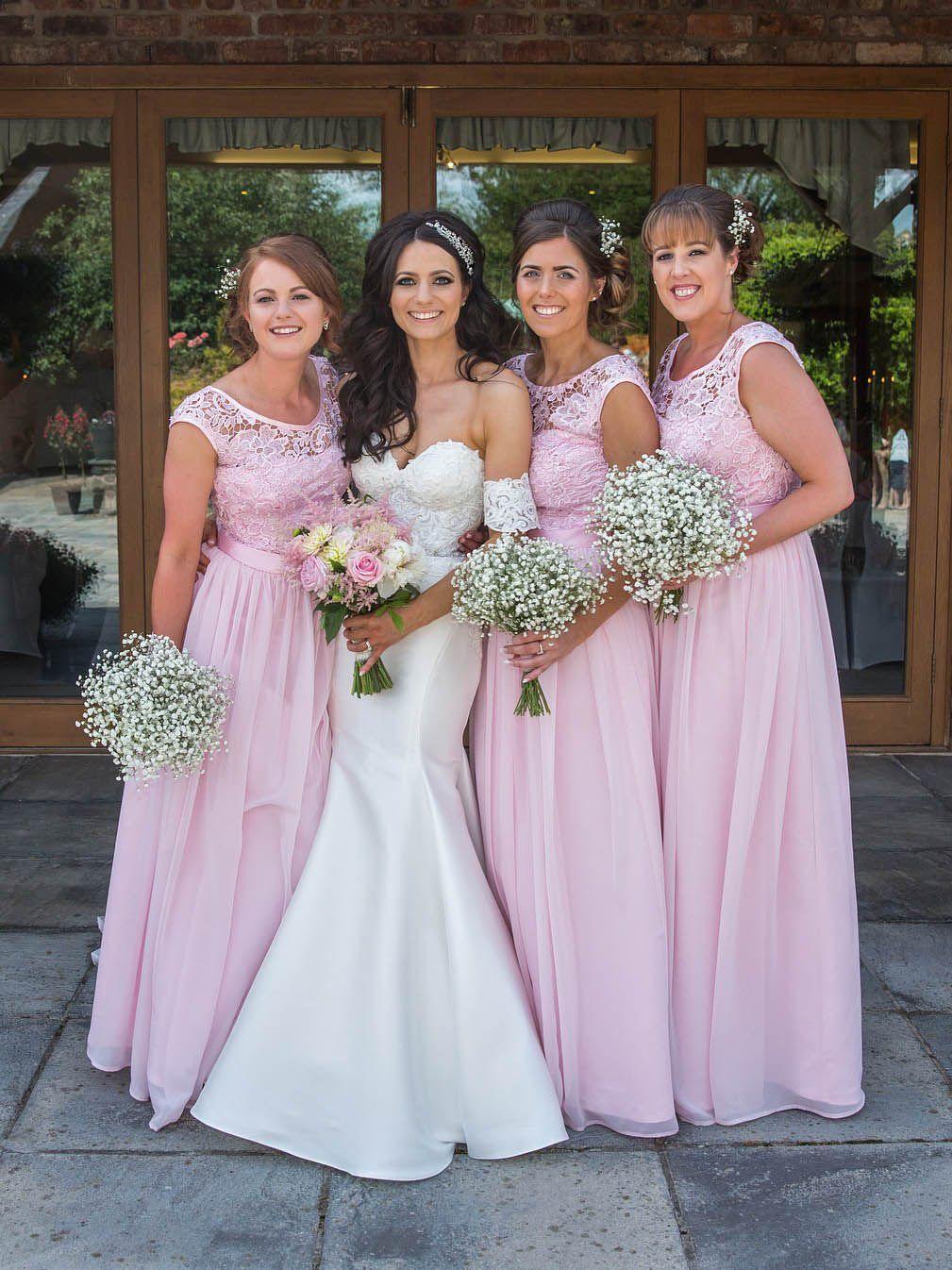 Pink plus size bridesmaid dresseslace top chiffon long