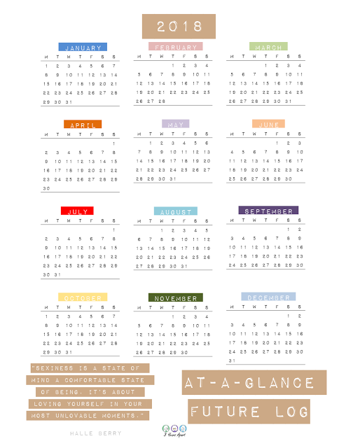 2018 Yearly At A Glance And Future Log Printable Printables