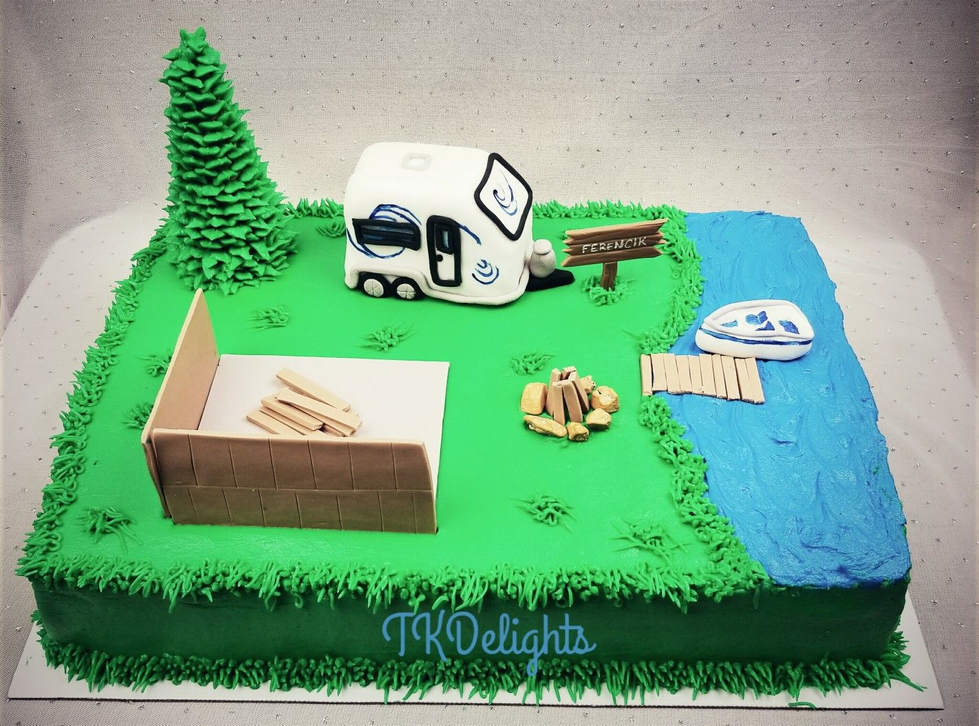 Camping New House Construction Cake
