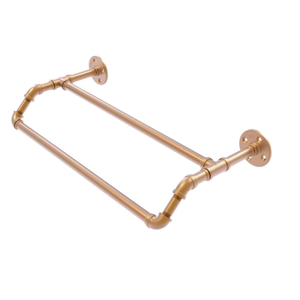 Allied Brass Pipeline Collection 36 In Double Towel Bar In Brushed Bronze Towel Bronze Bath Accessories
