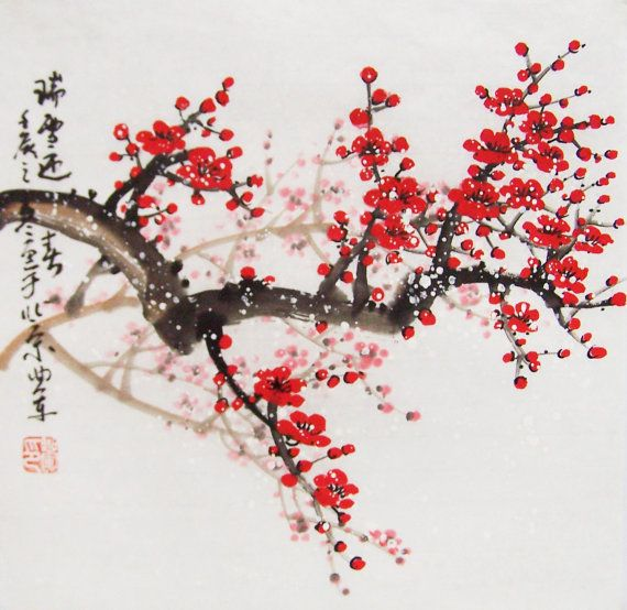 This Is Chinese Traditional Painting Painted By Qujun Use Brush Water And Chinese Traditional Colour Dr Cherry Blossom Art Cherry Blossom Painting Blossoms Art
