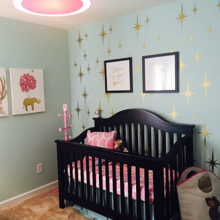 Customer Photo Of A Completed Nursery Using Our Retro Starburst Wall Decals Shown Here In
