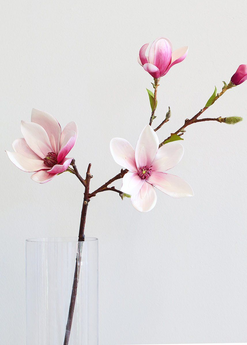 Artificial Magnolia Floral Branch In Pink In 2020 Floral Branch Magnolia Flower Magnolia Branch
