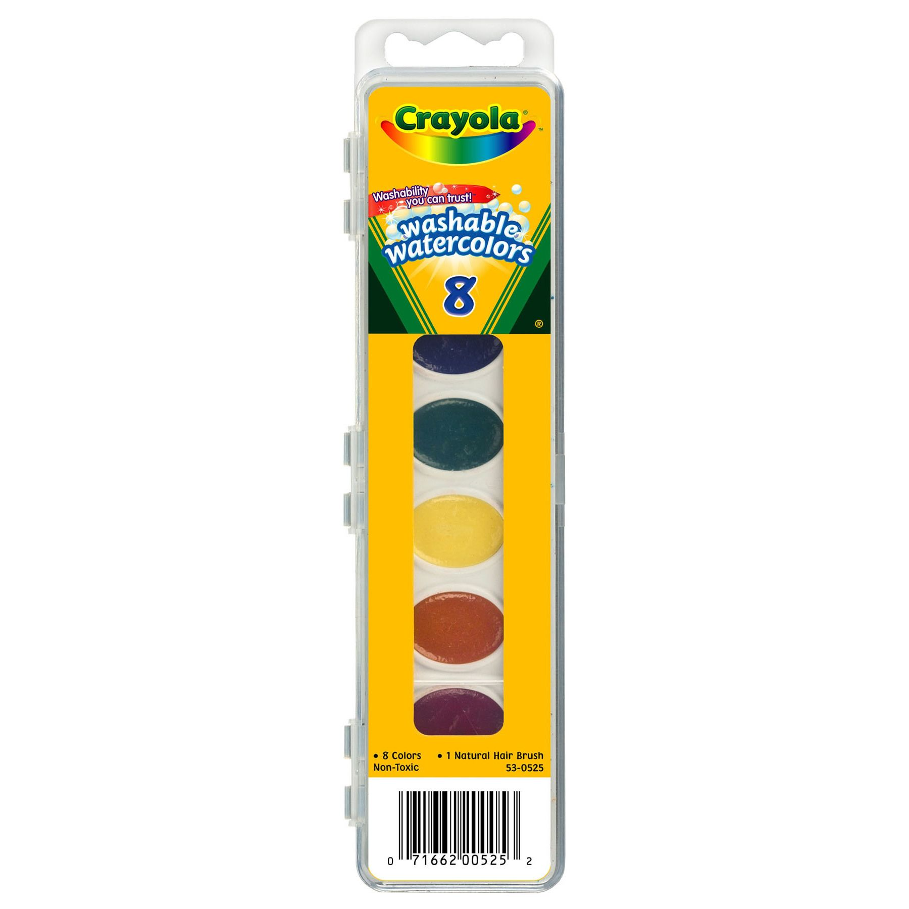 Crayola 53 0525 8 Color Washable Watercolors Watrcolrs Wash 8ct