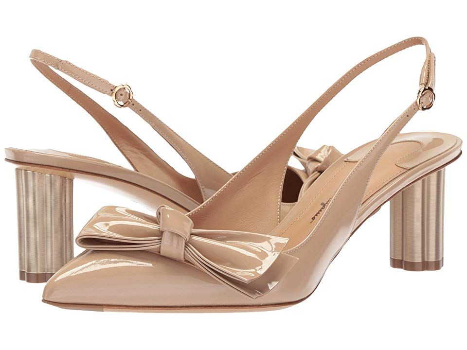 Salvatore Ferragamo Aulla 55 Almond Patent High Heels Carry yourself with the confidence of supreme style thanks to Salvatore Ferragamo Patent leather upper Slingback sty...