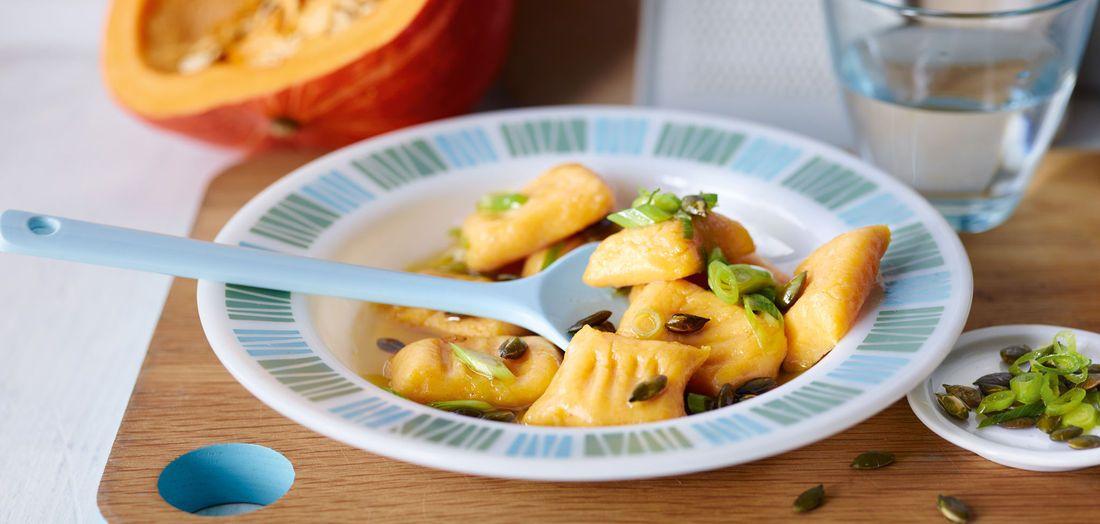 Kürbis-Kartoffel-Gnocchi mit Lauchzwiebelbutter