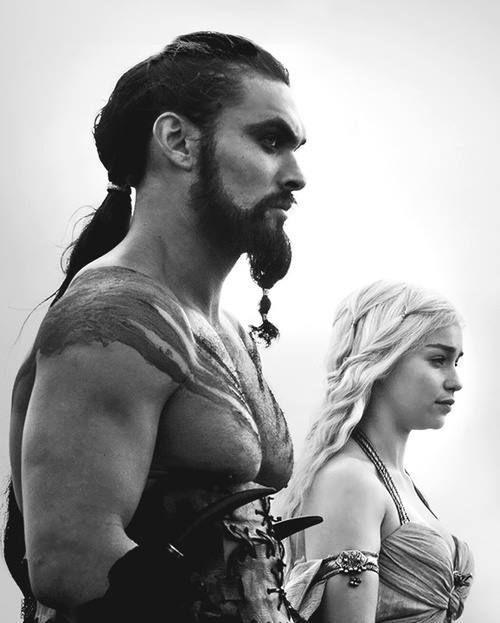 Jason Momoa as Khal Drogo and Emilia Clarke as Daenerys Targaryen in Game of Thrones