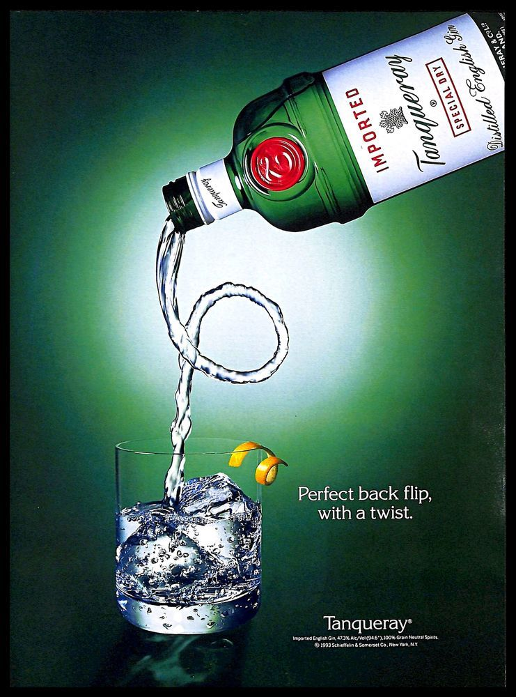 1993 Tanqueray English Gin Vintage Print Ad Green Bottle Glass Ice Cubes Twist Tanqueray Tanqueray Gin Beer Case