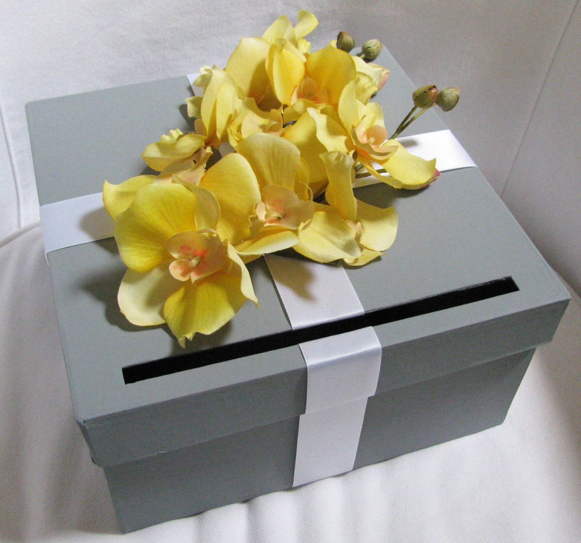 Wedding decorations yellow and gray  Wedding Card Box Gray with Yellow Orchids You Can Customize Colors