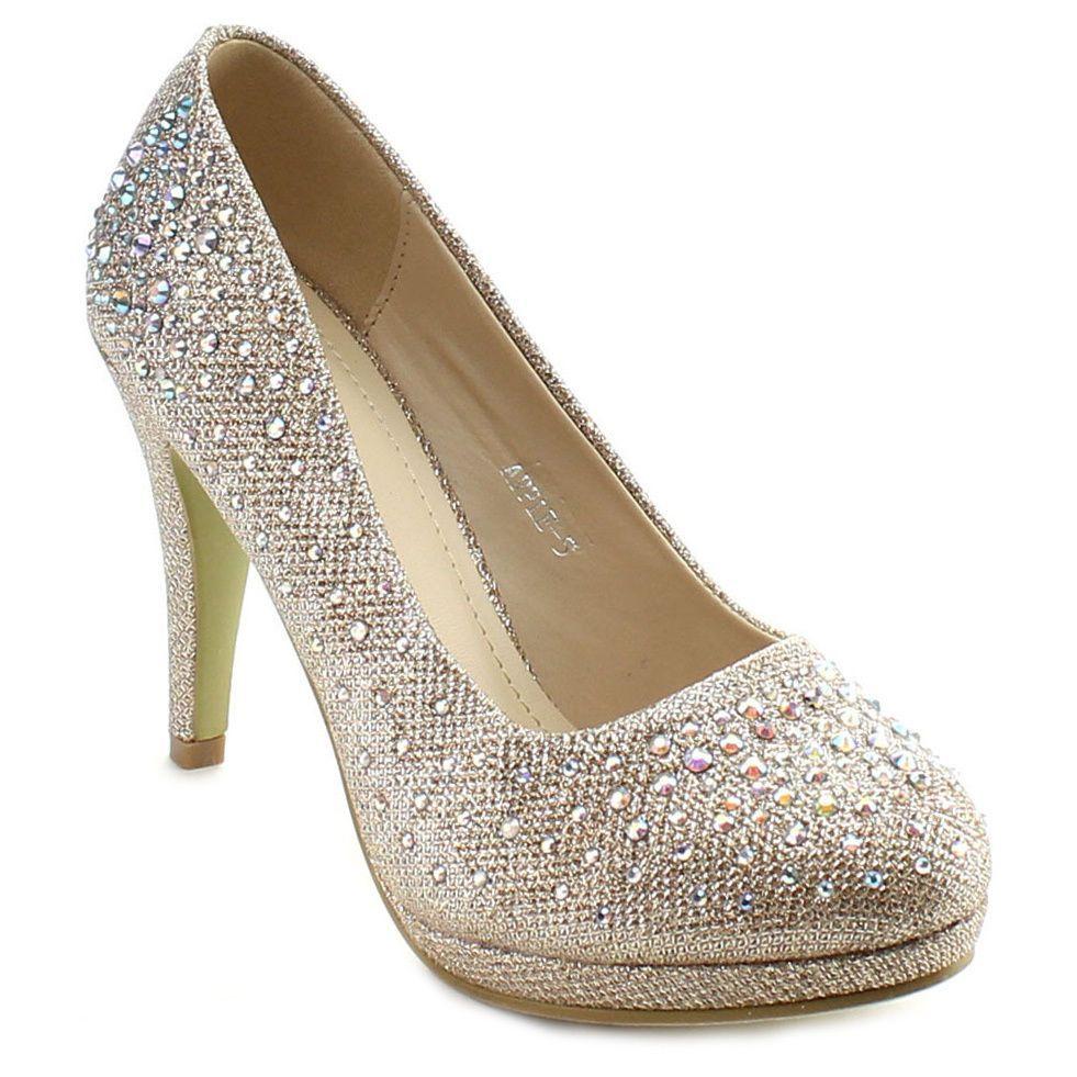 86e0a50f3bf26 Top Moda Apple-5 Women's Rhinestone Studded Platform Stiletto Heel ...