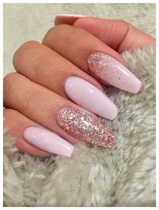 27 Unusual Acrylic Nail Designs Ideas 00105 Armaweb07 Com Pink Glitter Nails Coffin Shape Nails Squoval Nails