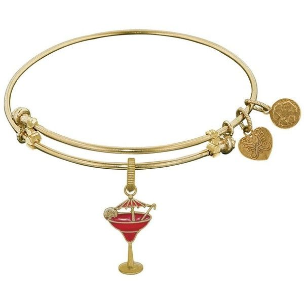 7.25 Adjustable Brass with Yellow Finish Enamel Umbrella Drink Charm... ($30) ❤ liked on Polyvore featuring jewelry, bracelets, hinged bangle, brass charms, bracelets bangle, charm bracelet bangle and adjustable bangle