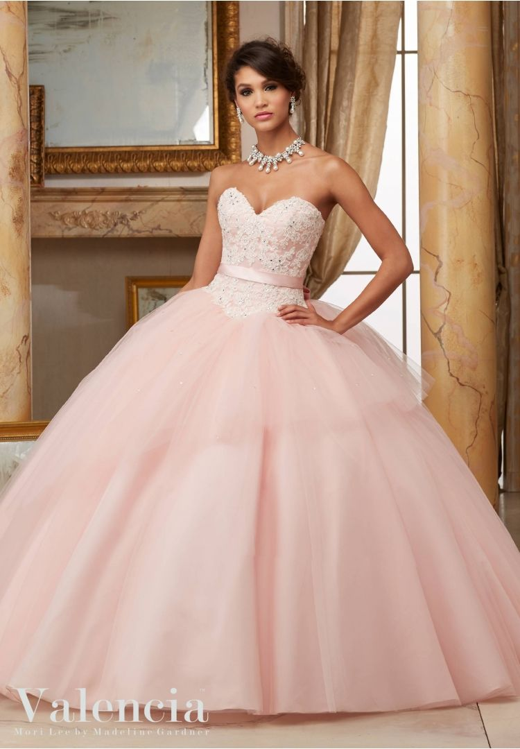 Quinceanera Dress 60003 Beaded Lace Bodice with Flounced Tulle Ball ...