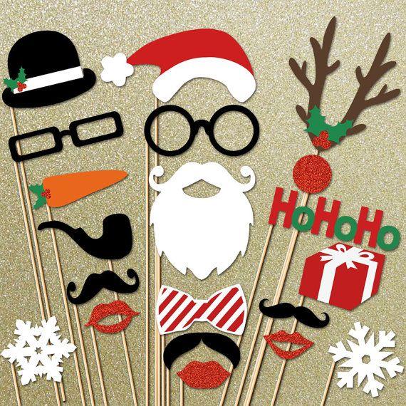 Noël paillettes Photo Booth Props - 20 pièce Santa Photo Props set - vacances Photobooth Props - parti les accessoires