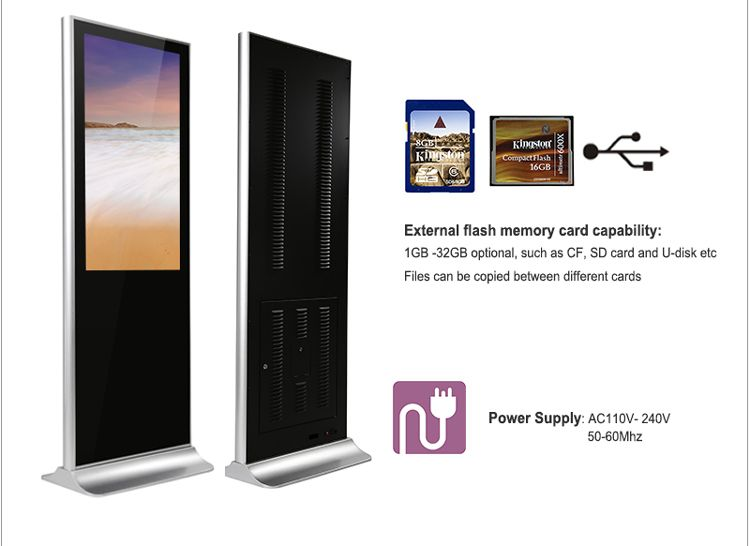 43 inch lcd advertising digital display touch screen pc for Floor banner