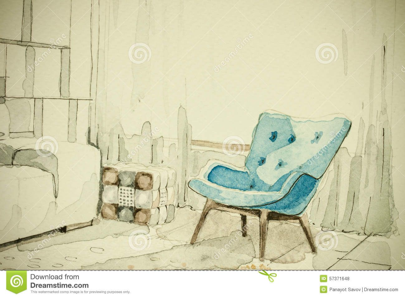 Furniture Sketches Watercolor Aquarelle Ink Freehand Sketch Perspective Architectural
