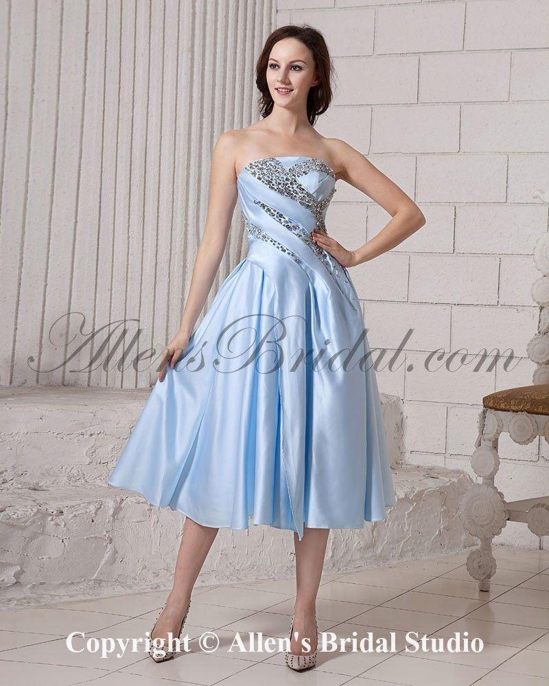 Tea Length Satin Dress