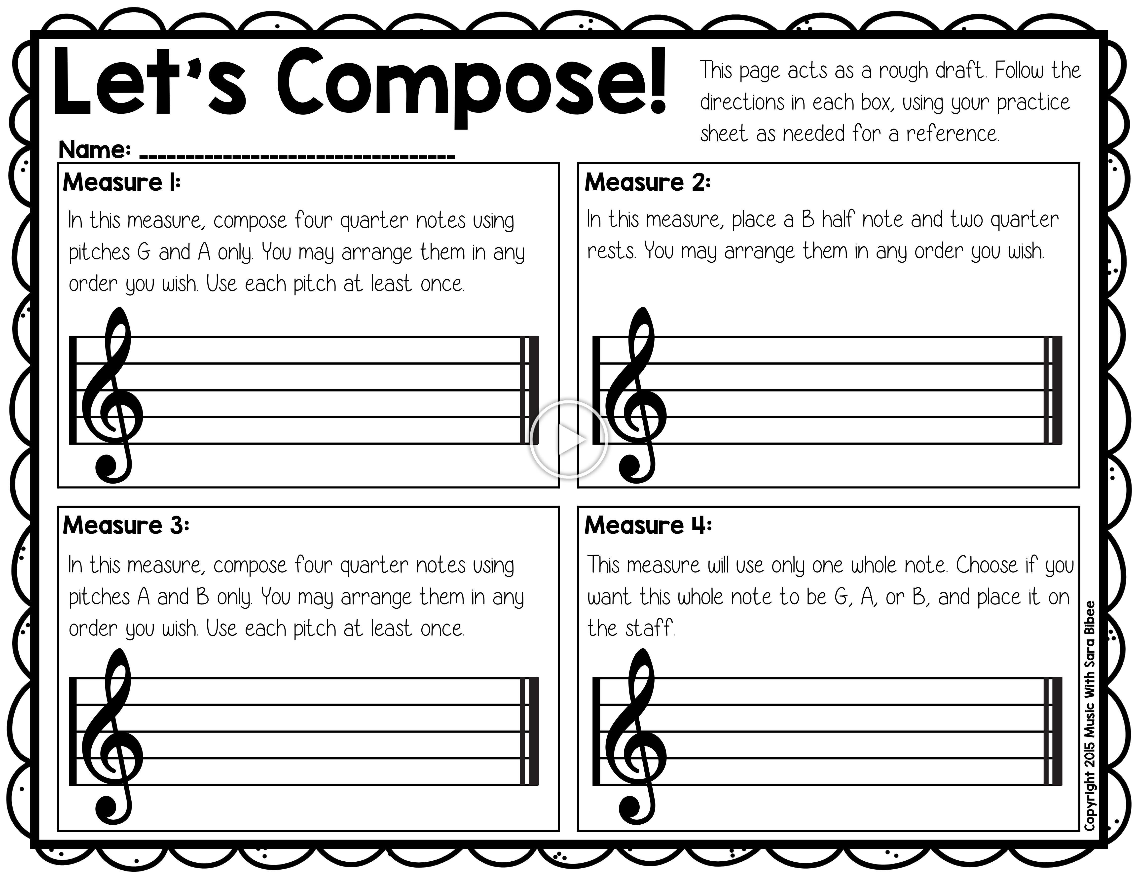 Free Composition Activity That Can Be Used For Recorders