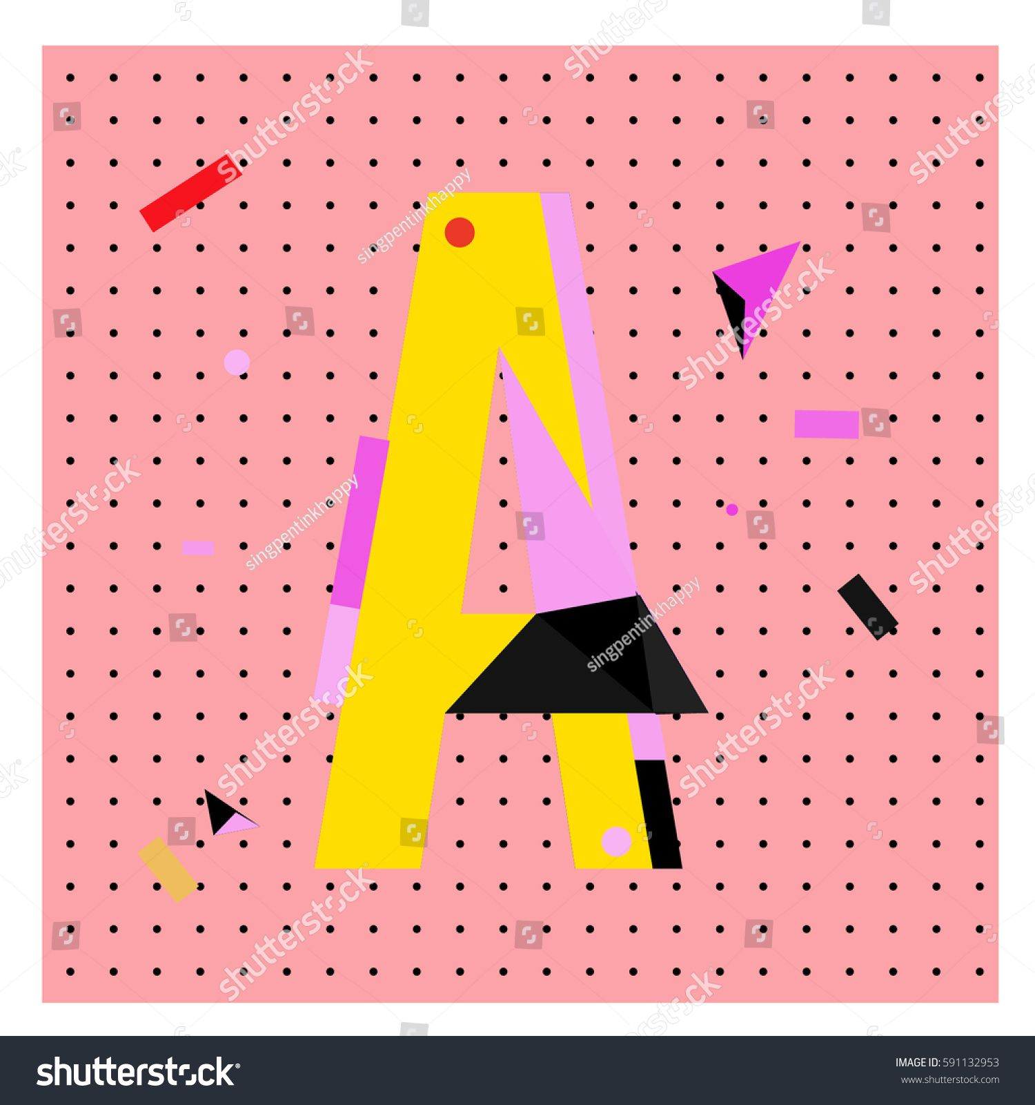 Vector Letter A Memphis Style Geometrical Color Outline Latin Font