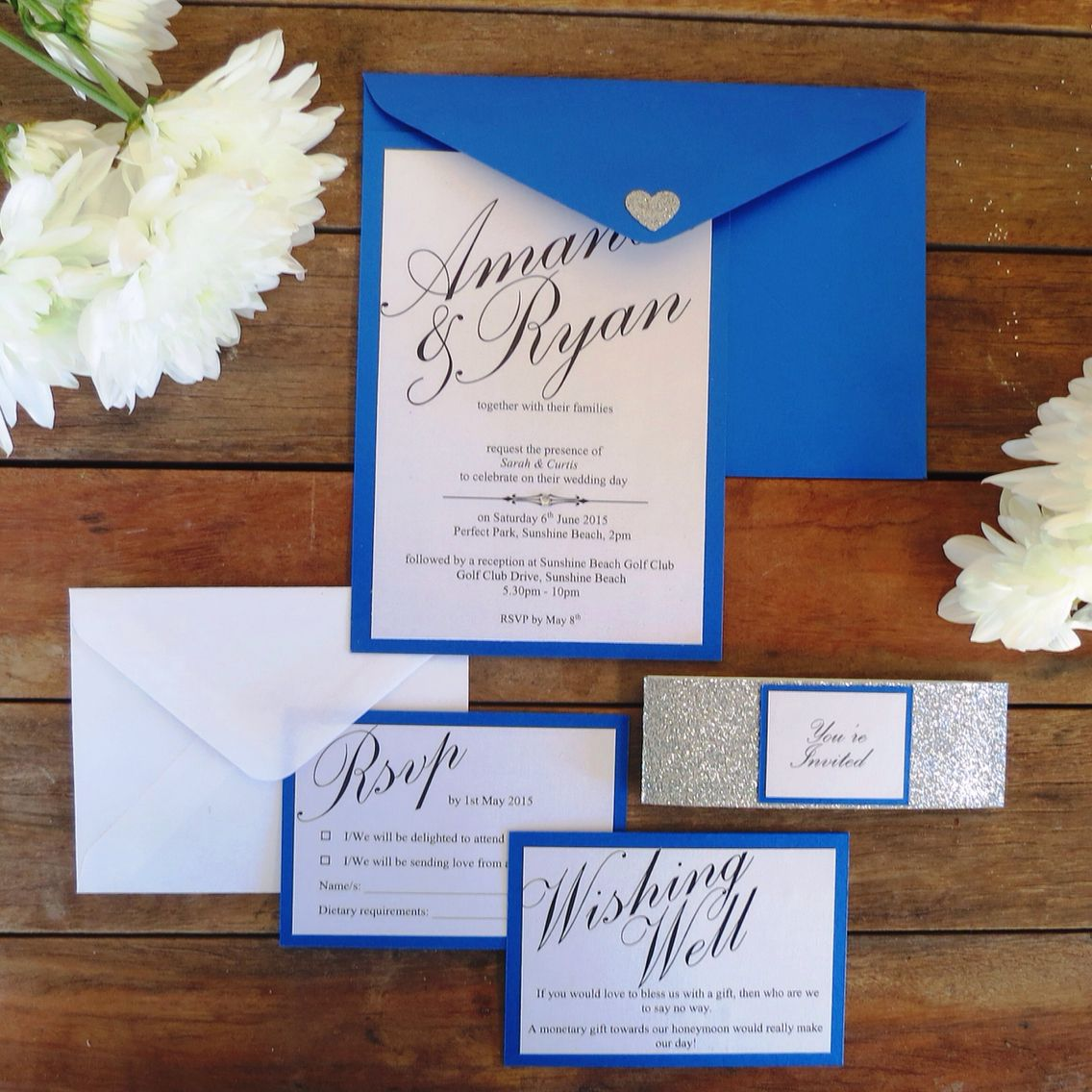 When Should Wedding Invitations Be Ordered: Royal Blue, Glittery Silver And Shiny White Wedding