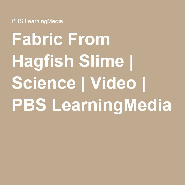 Fabric From Hagfish Slime Science Video Pbs