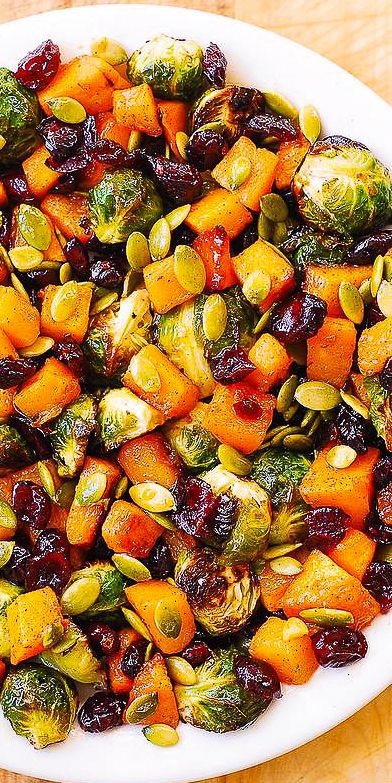 Thanksgiving Side Dish: Brussels Sprouts, Butternut Squash, Pumpkin Seeds, Cranberries