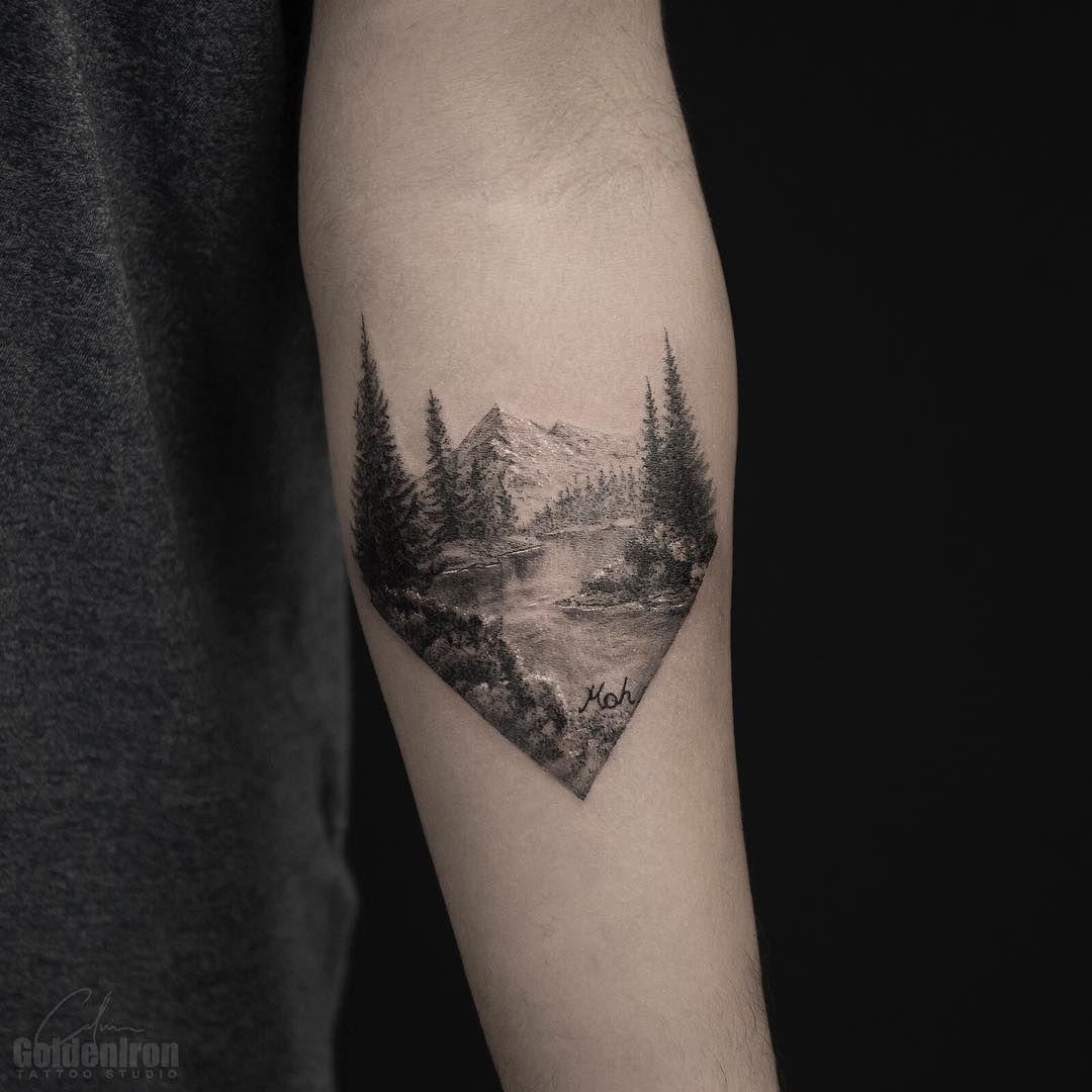 splendid landscape tattoo by grxsy tattoo pinterest tattoos landscape tattoo and nature. Black Bedroom Furniture Sets. Home Design Ideas