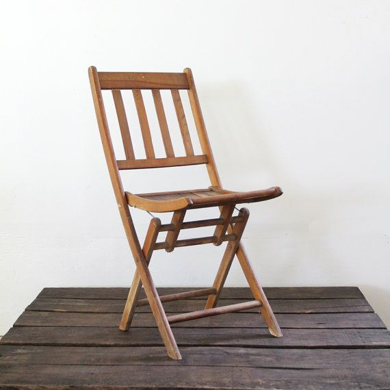 Vintage wood folding chair camp chair slat wood chair