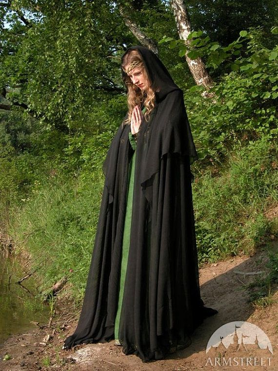 DISCOUNTED PRICE Black Mysterious Magic Fantasy Cloak by armstreet