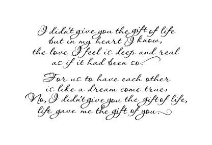 Quote for adoptive parents wall vinyl decal I didn't give