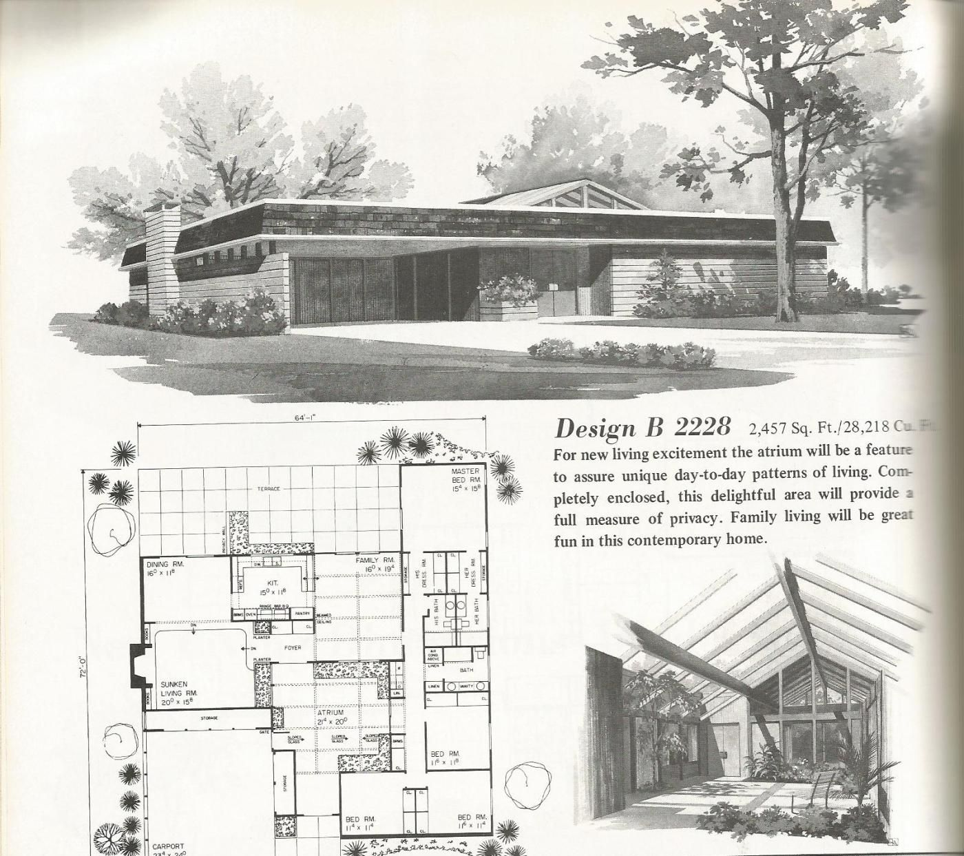 Mid Century Modern Home Plans vintage house plans, mid century homes, large homes | mid-century