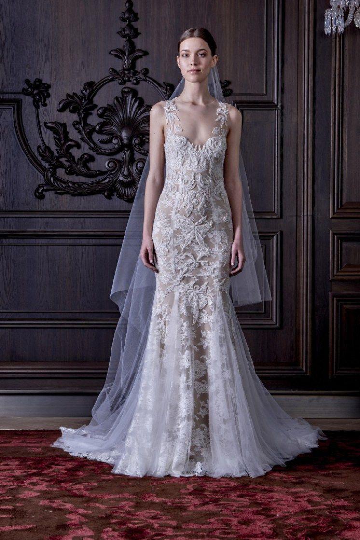 vestido de noiva Blythe estilo sereia com bordado ilusao em fundo ...
