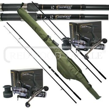 Oakwood 12ft 2 5tc Rods X 2 Double Handle Bait Runner Reel X 2 Carp Holdall Fishing Set Double Handle Holdall Carp