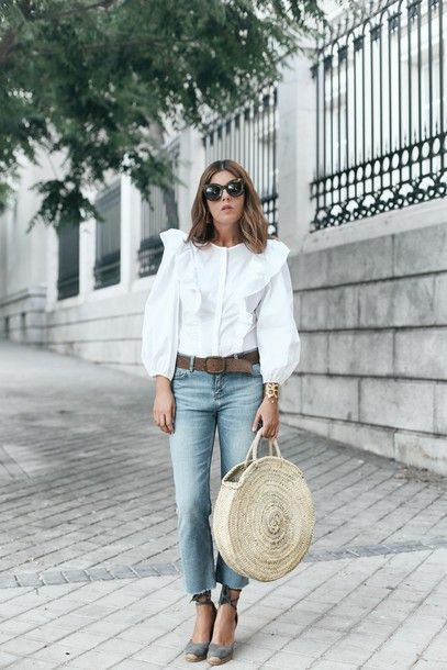 b69e1e423d6e Ruffled White Cotton Shirt Teamed With Miss Selfridge Wide Leg Cropped Jean  And Castaner Canela Fringed