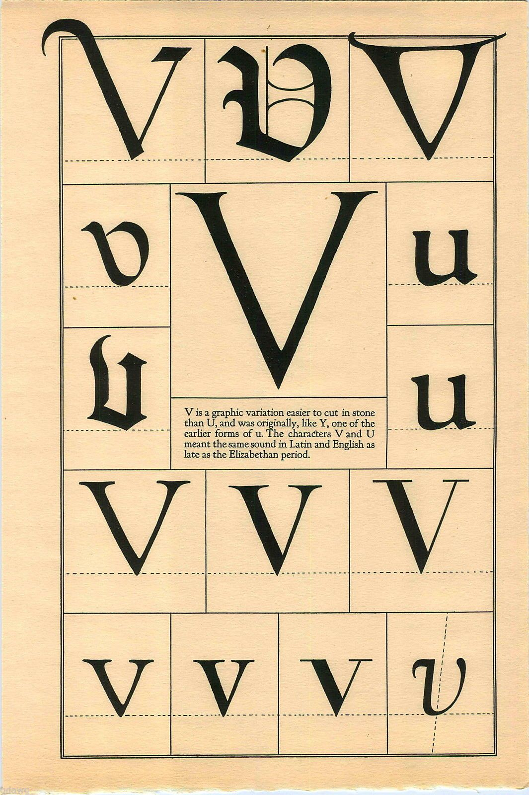 1922 Book Print Letter V Greek Roman Alphabet Design