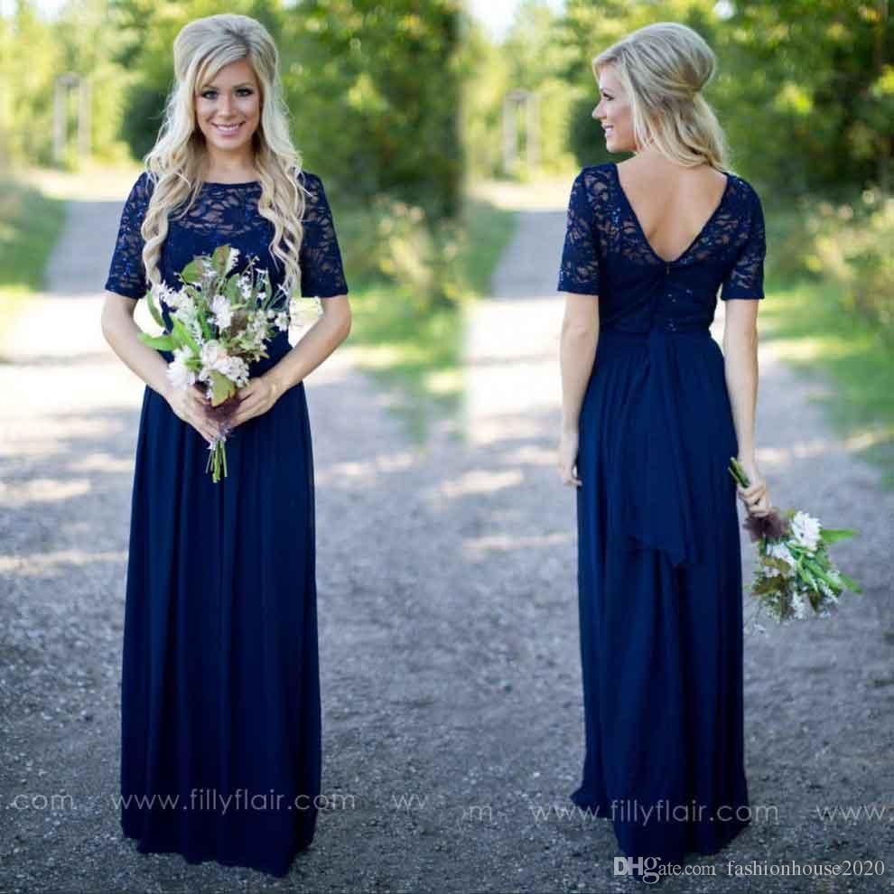 Cheap chiffon country bridesmaid dresses sheer illusion lace