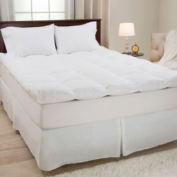Full Size 4 in. H Down and Duck Feather Mattress Topper, White - Full Size 4 In. H Down And Duck Feather Mattress Topper, White
