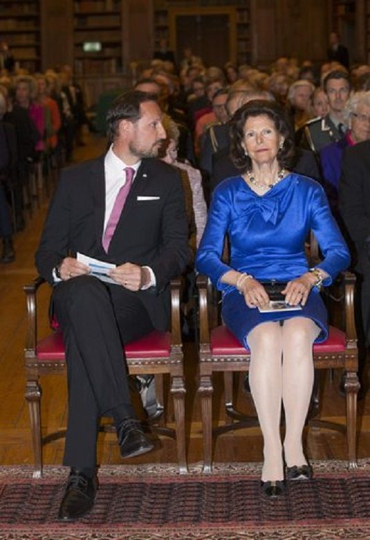 Norwegian Crown Prince Haakon and Swedish Queen Silvia attends ''The 200th anniversary of the Norwegian Constitution'', the Bernadotte Library at the Royal Palace of Stockholm, 2014-05-05