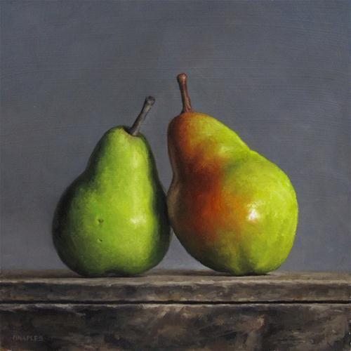 Leaning Pair Original Fine Art For Sale C Michael Naples Fruit Painting Pear Art Still Life Oil Painting