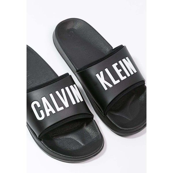 Calvin Klein Swimwear SLIDE ❤ liked on Polyvore featuring shoes, sandals, black sandals,