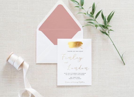 Gold Foil Wedding Invitation Set Modern Invitation Suite Wedding Invitation Gold Foil Wedding Invitations Gold Wedding Invitations Custom Wedding Invitations