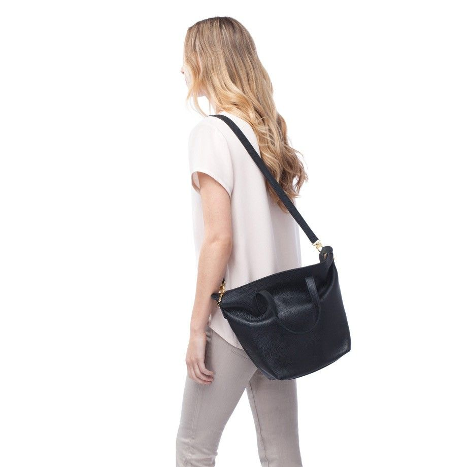 37898375a092 cuyana small carryall tote in black pebbled leather