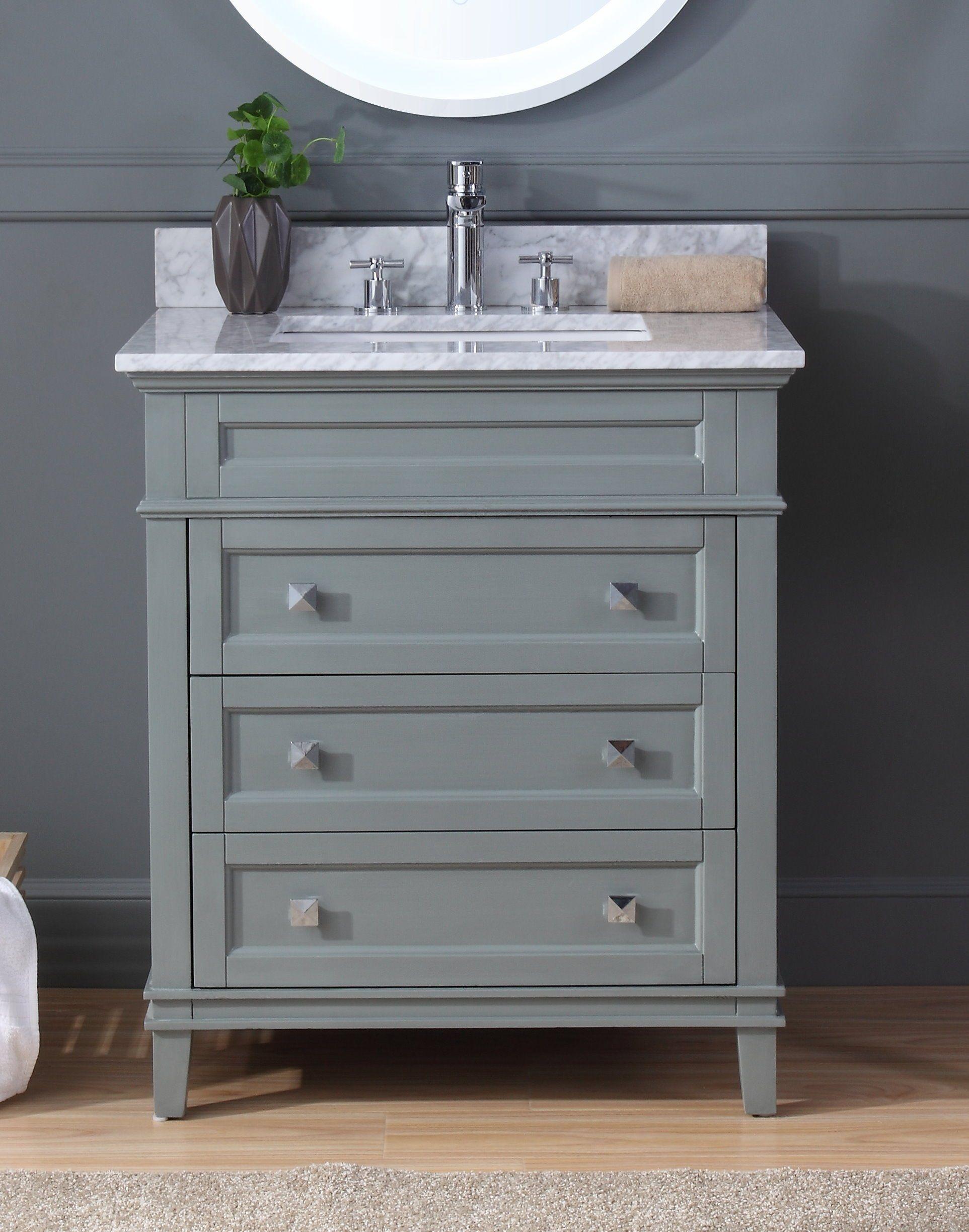 Scott Living Roveland 30 In Dark Gray Undermount Single Sink Bathroom Vanity With Natural Carrara Marble Top Lowes Com In 2021 Grey Bathroom Vanity Single Sink Bathroom Vanity Bathroom Sink Vanity