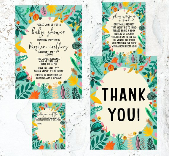 Turquoise Fiesta Baby Shower Invitations