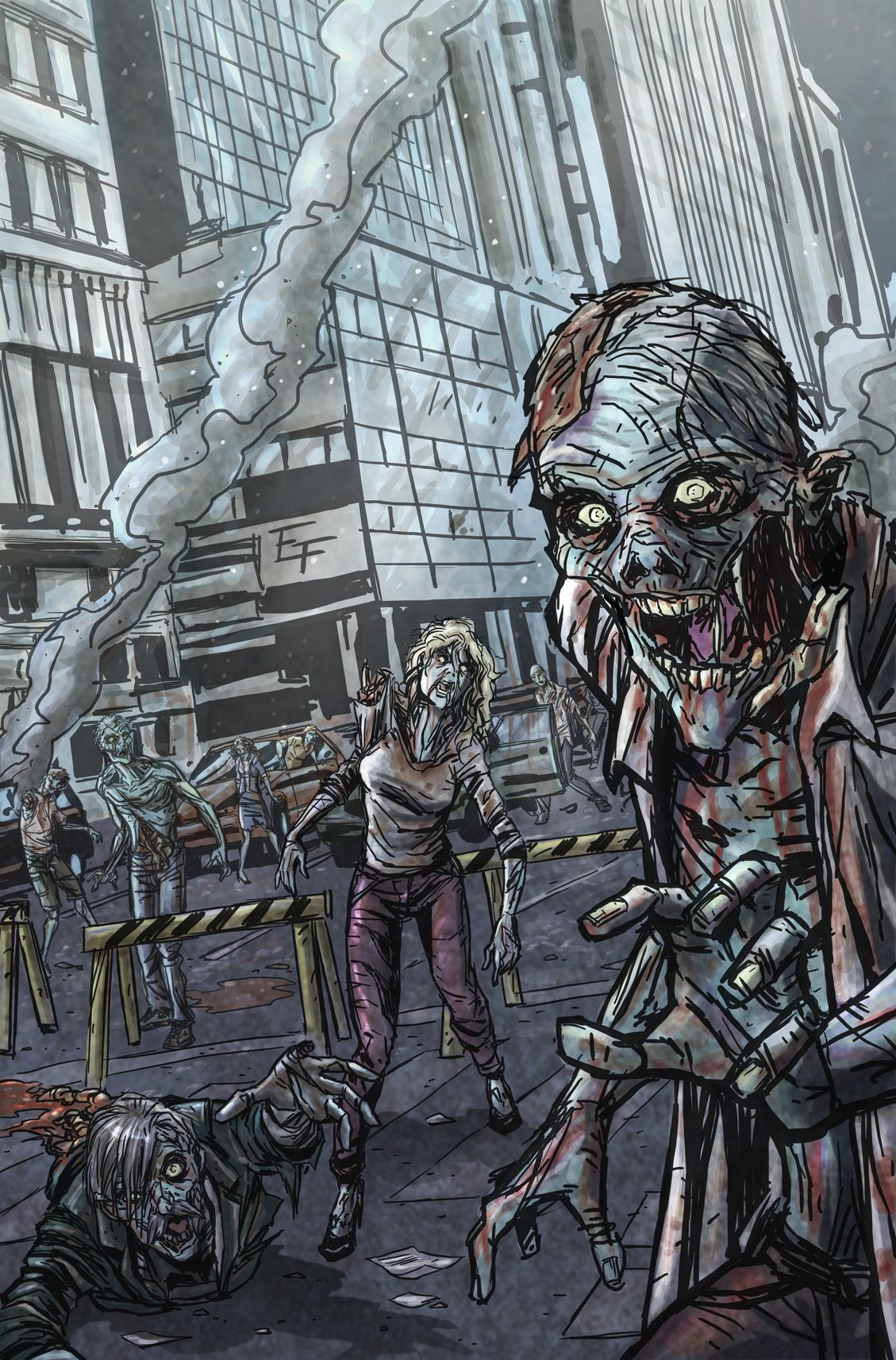 Zombies Cityscape Drawing Just Drawings Zombie Drawings Zombie