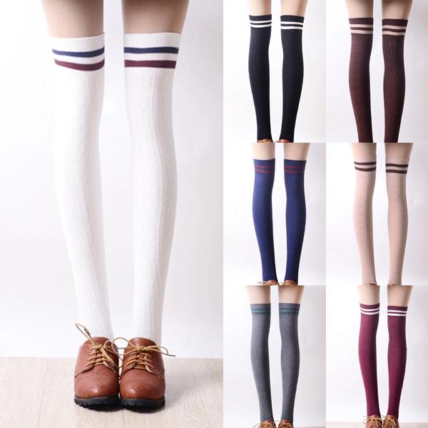 782502c81 Japanese students stripe knee-high socks More